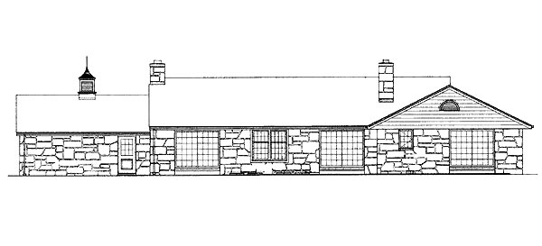 Ranch House Plan 95115 Rear Elevation