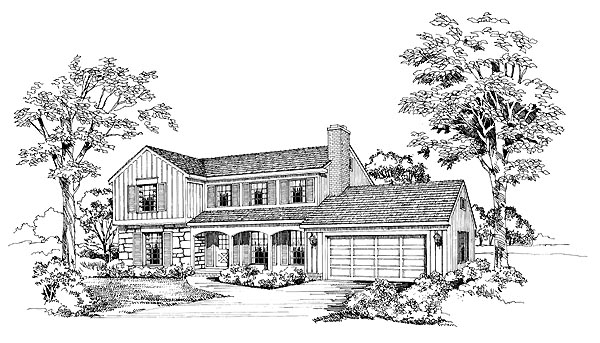 Ranch House Plan 95125 with 4 Beds, 3 Baths, 2 Car Garage Elevation