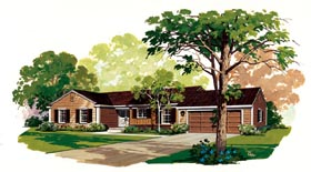 Ranch House Plan 95126 with 3 Beds, 3 Baths, 1 Car Garage Elevation