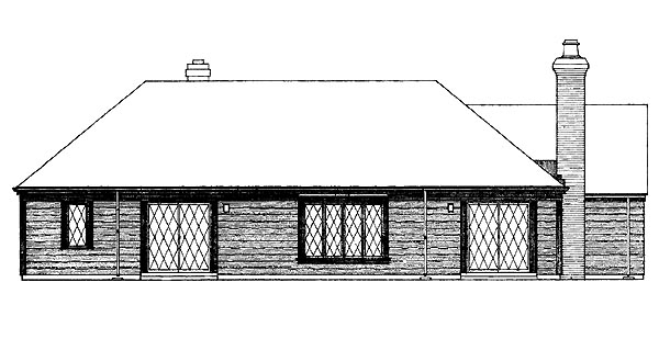 Ranch House Plan 95127 Rear Elevation