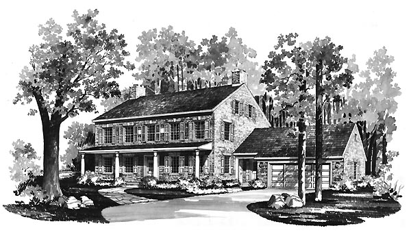 Colonial House Plan 95131 Elevation