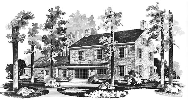 Colonial House Plan 95131 Rear Elevation