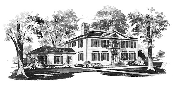 Colonial House Plan 95132 with 4 Beds, 3 Baths, 2 Car Garage Elevation