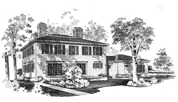 Colonial House Plan 95132 Rear Elevation