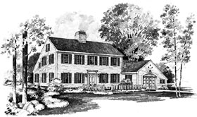 Colonial House Plan 95134 with 3 Beds, 3 Baths, 1 Car Garage Elevation