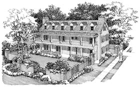 Colonial , Country , Southern House Plan 95135 with 5 Beds, 5 Baths, 2 Car Garage Elevation