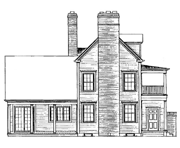 Colonial Country Southern House Plan 95135 Rear Elevation