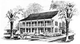 House Plan 95136 | Colonial Country Style Plan with 2570 Sq Ft, 4 Bedrooms, 3 Bathrooms Elevation