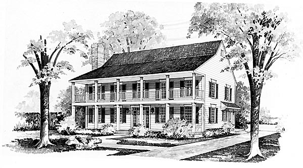Colonial Country House Plan 95136 Elevation