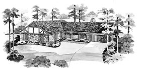 Ranch House Plan 95140 with 3 Beds, 3 Baths, 2 Car Garage Elevation