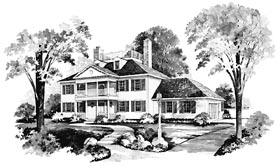 Colonial House Plan 95142 with 4 Beds, 3 Baths, 2 Car Garage Elevation