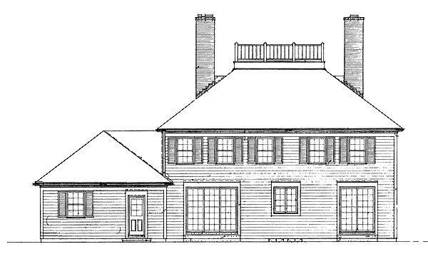 Colonial House Plan 95142 with 4 Beds, 3 Baths, 2 Car Garage Rear Elevation