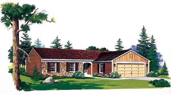 Ranch House Plan 95144 with 3 Beds, 2 Baths, 2 Car Garage Elevation
