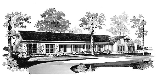 Ranch House Plan 95145 Elevation