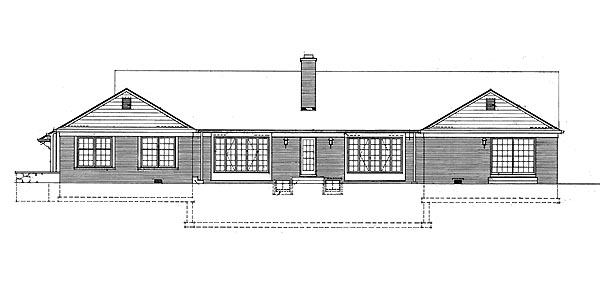 Ranch House Plan 95145 Rear Elevation