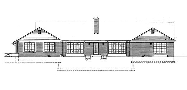 House Plan 95145 | Ranch Style Plan with 3436 Sq Ft, 3 Bedrooms, 2 Bathrooms, 2 Car Garage Rear Elevation