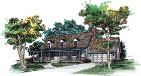 House Plan 95146 | Cape, Cod, Country Style House Plan with 2008 Sq Ft, 3 Bed, 3 Bath, 2 Car Garage Elevation