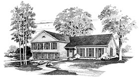 House Plan 95149 | Traditional Style Plan with 2094 Sq Ft, 4 Bedrooms, 3 Bathrooms, 2 Car Garage Elevation