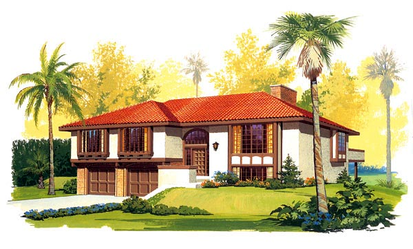 Mediterranean House Plan 95151 with 4 Beds, 3 Baths, 2 Car Garage Elevation