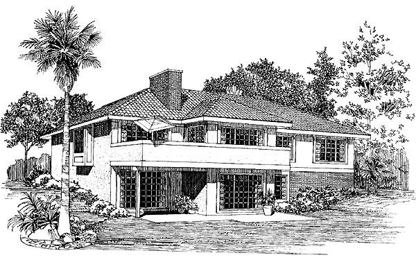 Mediterranean House Plan 95151 with 4 Beds, 3 Baths, 2 Car Garage Rear Elevation