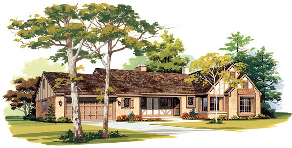 Ranch House Plan 95152 with 4 Beds, 3 Baths, 3 Car Garage Elevation