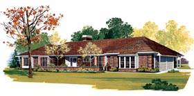 Ranch Retro Traditional House Plan 95153 Elevation