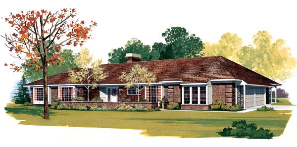 Ranch Retro Traditional Elevation of Plan 95153