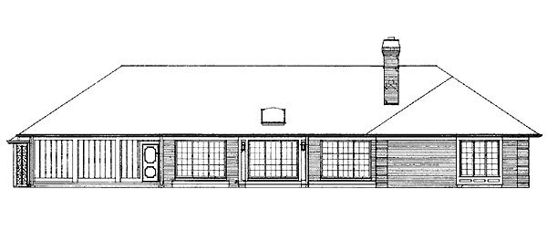 Ranch Retro Traditional House Plan 95153 Rear Elevation