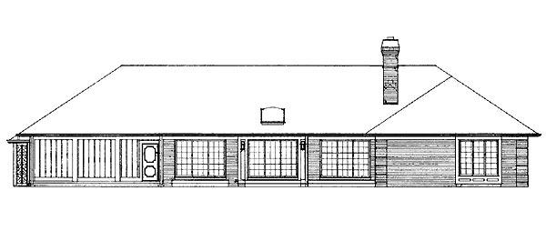 Ranch Retro Traditional Rear Elevation of Plan 95153