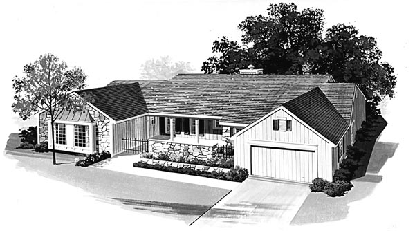 Ranch House Plan 95155 Elevation