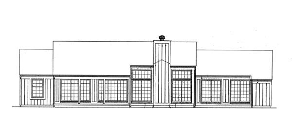 Ranch House Plan 95155 Rear Elevation