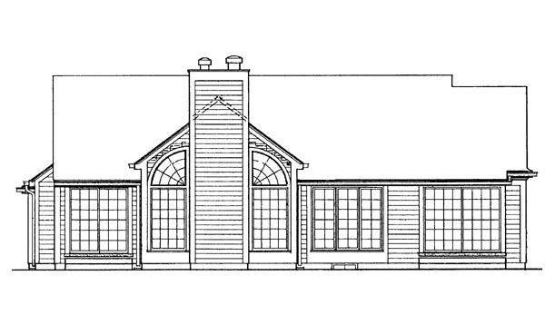 House Plan 95156 | Ranch Style Plan with 1530 Sq Ft, 3 Bedrooms, 2 Bathrooms, 2 Car Garage Rear Elevation