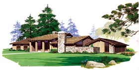 Contemporary , Ranch House Plan 95157 with 3 Beds, 3 Baths, 2 Car Garage Elevation