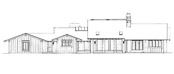 Contemporary Ranch House Plan 95157 Rear Elevation