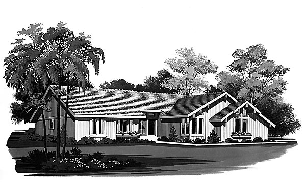 House Plan 95163 | Contemporary Ranch Style Plan with 1834 Sq Ft, 2 Bedrooms, 2 Bathrooms, 2 Car Garage Elevation
