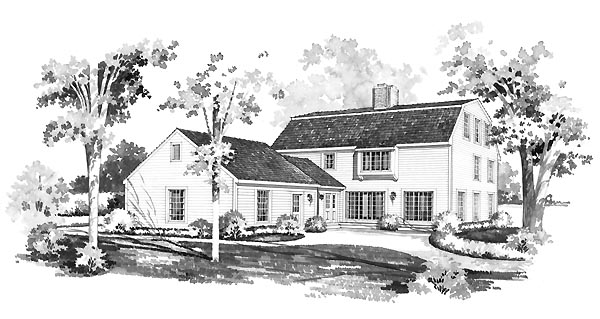 Colonial House Plan 95170 with 4 Beds, 4 Baths, 2 Car Garage Rear Elevation