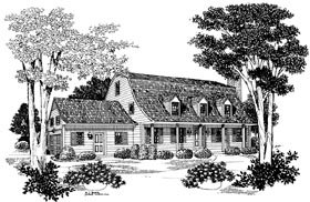 Colonial , Country House Plan 95171 with 3 Beds, 3 Baths, 2 Car Garage Elevation