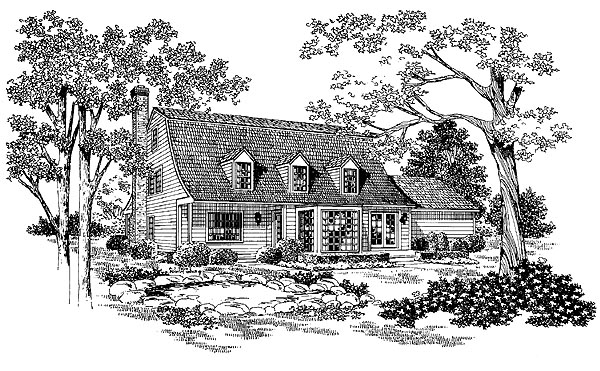 Colonial , Country House Plan 95171 with 3 Beds, 3 Baths, 2 Car Garage Rear Elevation