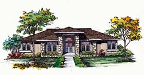 Prairie Style , Southwest House Plan 95178 with 3 Beds, 2 Baths Elevation