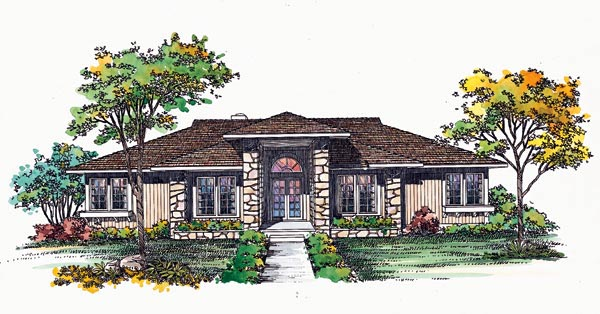 House Plan 95178 | Prairie Style Southwest Style Plan with 2274 Sq Ft, 3 Bedrooms, 2 Bathrooms Elevation