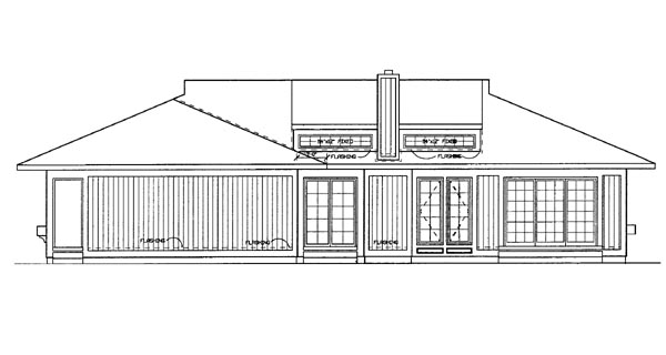 House Plan 95178 | Prairie Style Southwest Style Plan with 2274 Sq Ft, 3 Bedrooms, 2 Bathrooms Rear Elevation