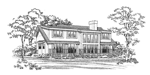Ranch Rear Elevation of Plan 95180