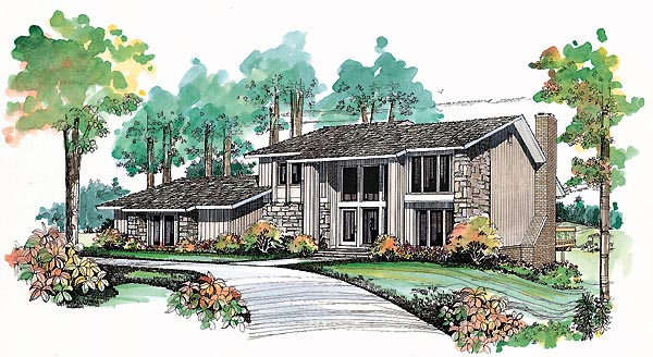 House Plan 95186 | Contemporary Style Plan with 2214 Sq Ft, 2 Bedrooms, 3 Bathrooms, 3 Car Garage Elevation