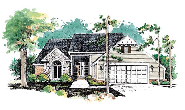 Traditional House Plan 95187 with 3 Beds, 4 Baths, 2 Car Garage Elevation