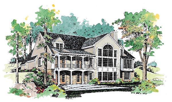 Traditional House Plan 95187 with 3 Beds, 4 Baths, 2 Car Garage Rear Elevation