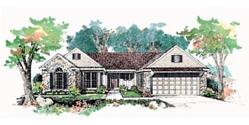 House Plan 95189 | Ranch Style Plan with 1999 Sq Ft, 3 Bedrooms, 3 Bathrooms, 2 Car Garage Elevation