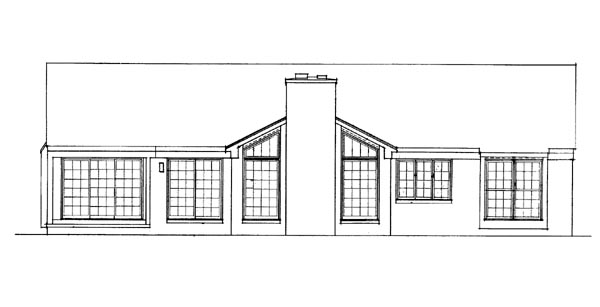 Ranch , Rear Elevation of Plan 95189