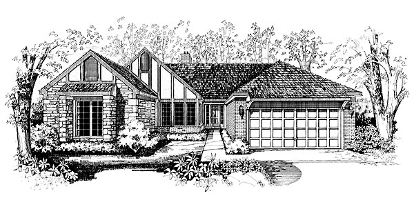 Ranch House Plan 95190 with 4 Beds, 3 Baths, 2 Car Garage Elevation