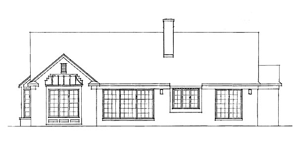 Ranch House Plan 95190 with 4 Beds, 3 Baths, 2 Car Garage Rear Elevation