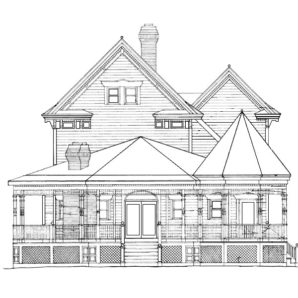 Country , Southern , Rear Elevation of Plan 95191